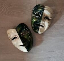 A Pair of Venetian Theatre Faces Wall Masks Hand Made by Balo Coloc Rare