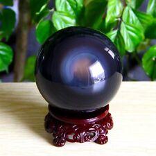 70mm Natural Black Obsidian Rainbow Cat eye Sphere Crystal Ball Healing Stone