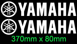 Yamaha pair vinyl cut sticker decals for outboards Engine Cowl bike 370mm X 80mm