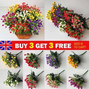 36 Heads Artificial Silk Flowers Bunch Wedding Home Grave Outdoor Bouquet UK