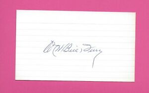 Bill Terry HOF New York Giants Autographed Index Card
