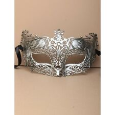 NEW Matt silver brushed metal effect large Masquerade Mask Eye Gothic halloween