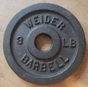 Single Weider Barbell 3lb Standard Weight Plate Cast Iron Blank side B rare vtg