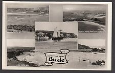 Postcard Bude Cornwall multiview posted 1953 old RP