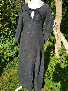 GENUINE VINTAGE 70'S BLACK & SILVER LUREX EVENING DRESS WITH KEYHOLE TIE FRONT