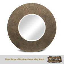 Round Wall Mirror Decor Living Iron Frame Croc Patterned Golden Black Finish
