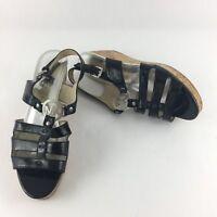 Michael Kors Size 10 M Cork Platform Wedge Sandals Black Patent Silver MK Emblem