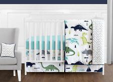 Modern Navy Blue Grey White Dinosaur Bumperless Baby Boys Girls Crib Bedding Set