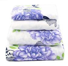 Queen Size Sheet Set 4 Pcs Flat/Fitted/Pillowcases Green Blue Floral