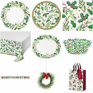 Christmas Tableware Gift Bags Plates Napkins Table Covers Holly Platters