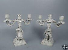 Pr Figural French Bisque Porcelain Candelabra W Sevres Type Mark - EX DUPONT pc