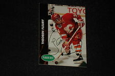 THEO FLEURY 1991-92 PARKHURST SIGNED AUTOGRAPHED CARD #22 CALGARY FLAMES