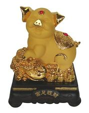 "8"" Chinese Zodiac Golden Pig Statue w/ Bai Choi Figurine for Lunar Year of Pig"