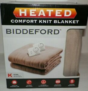 King Biddeford Electric Blanket Comfort Knit Fleece Beige NIB