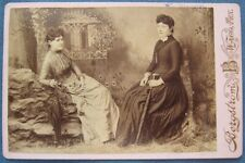 Victorian era cabinet card photo of two identified ladies from Waco, Texas