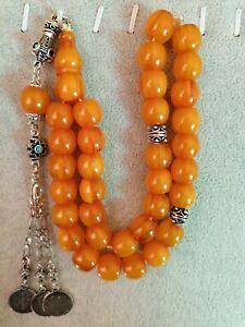 German Yellow Faturan Cherry Amber Bakelite Prayer Beads Tesbih Misbaha Rosary