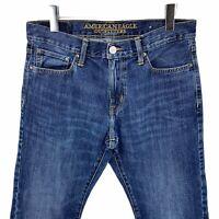 American Eagle outfitters slim straight medium dark wash bluejeans men's 32X 30