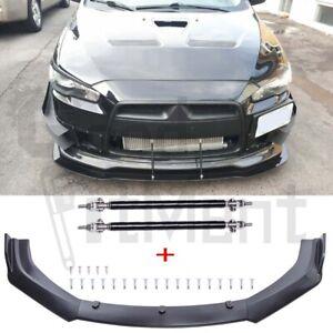 For Mitsubishi Lancer CE CJ CY CF Front Bumper Lip Splitter Spoiler + Strut Rods