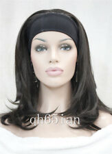 Fashion women brown straight Curly 3/4 wig with headband womens wig