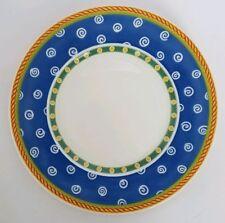 """Villeroy & Boch TWIST CLEA 8 5/8"""" Salad Plate Blue Rim White Swirl 1214"""