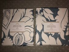 Pair Of Pottery barn Belgian Flax Linen Damask Sheer Drape 50X84 Inches