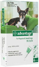 Advantage Green for small dogs 0-4kg 4pk contains 1 box with 4 pippettes