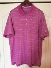 Adidas ClimaLite Golf/Polo Shirt -Men's Large-L -Pink/White Stripe