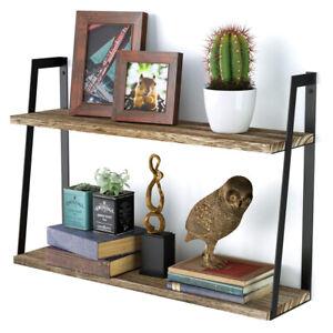 2-Layer 60cm Length Wall Mounted Shelves Bookshelf for Bedroom Kitchen Bathroom