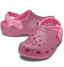 Crocs Classic Glitter PINK Clogs | Slippers | -BRAND NEW WITH BOX Kids Size C8