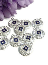 10pc NA Purple Enamel & Crystal Pendant Charms Silver Tone - Narcotics Anonymous