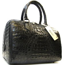 100% HORNBACK GENUINE CROCODILE LEATHER HANDBAG BAG PURSE TOTE SHINY BLACK NEW