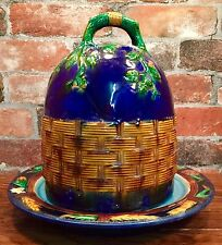 Vintage Majolica Floral and Weaved Basket Design Dome Cover & Cheese Plate Set