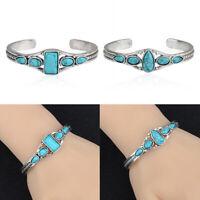 Turquoise Boho Bracelet Bangle Gift Green Silver Tibetan Women Open Cuff Jewelry