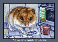 HAMSTER HOMEMAKERS Scrubbing Floor ACEO Art Limited Edition Sketch Card Print