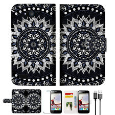 Black AZTEC TRIBAL Wallet TPU Case Cover For Optus ZTE Fit 4G Smart -- A005