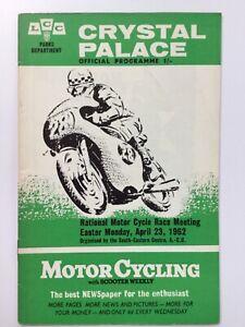 Crystal Palace 1962 Motor Cycling Programme