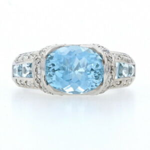 White Gold Aquamarine & Diamond Ring - 14k Oval Cut 3.85ctw Size 7