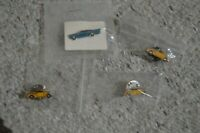 Vintage Muscle Car Hotrods Pinback Lot of 4 Yellow Blue Metal Enamel Collectible