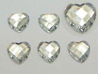 100 Clear Acrylic Faceted Heart Flatback Rhinestone Gems Beads 16X16mm No Hole