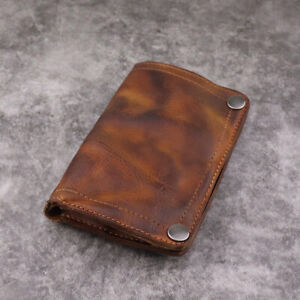Genuine Leather Men Wallets Bus Pass Travel Card Driving Licens Button Coin Bag