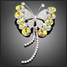 S15 Made Using Swarovski Crystals Iridescent Silver Butterfly Brooch $98