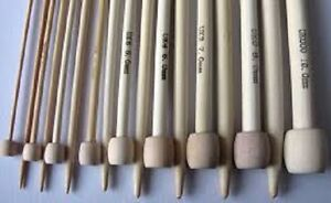 23cm long bamboo knitting pins. 1 pair single point in sizes from 2mm to 10mm
