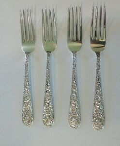 """SET/4 S. KIRK & SON """"REPOUSSE"""" STERLING SILVER LUNCHEON / PLACE FORKS, 200 gram"""