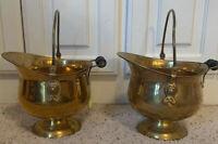 """2-Brass Scuttle Coal Buckets Wooden Handle 8"""" X 8"""""""