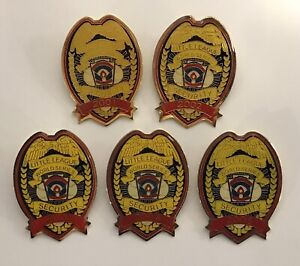 Lot of 5 LLWS Pins Little League World Series Official Security Badge Yellow