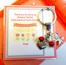 Thank you for helping me Grow Gift Nursery Teacher Key Ring with Charms