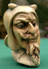 Antique Carved Lucifer Devil Satyr Bust Head Meerschaum Pipe with Glass Eyes