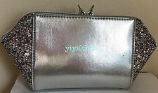 Saks 5th Ave COSMETIC BAG Faux Leather SILVER / Sparkling Event New