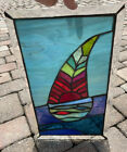 Sailin ⛵️Stained Glass Window Panel Gorgeous Piece 11x17 Inches