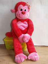 TESCO RED MONKEY WITH PINK HEART & BOW HUGGING FRIEND SOFT TOY next day post